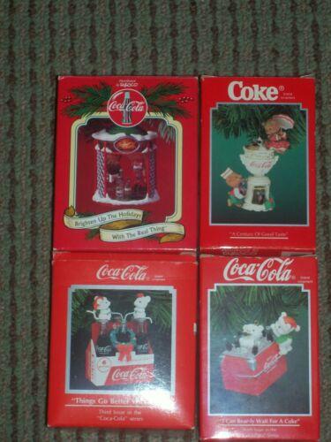 Lot 4 Enesco Coca Cola Coke Christmas Tree Ornaments