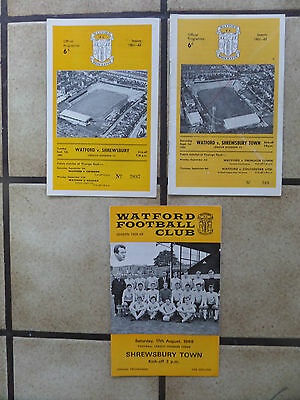 3 x Watford v Shrewsbury Town - Football Programmes - Div 3 - 1960s - Lot 4