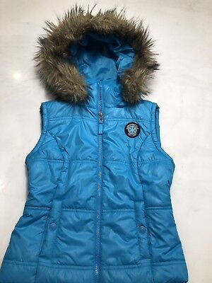 Womens Aeropostale Puffer Vest Turquoise With Fur Trim Hood size Small S Trim Womens Vest