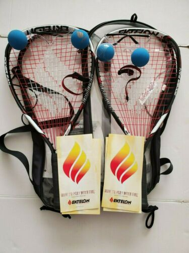 Ektelon 1100 Racquetball Racquet, eye protection, Carry Case & 2 Balls Set Of 2