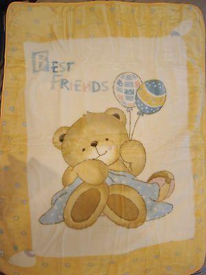 Korean Baby Child Mink Blanket - Teddy Bear - Yellow - Premium Quality