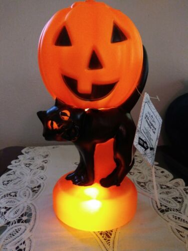 Vintage style Blowmold Black Cat with Pumpkin light 11 INCHES