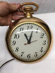 Vintage United Clock Corp. Pocket Watch Wall Clock Model 370 Tested Working