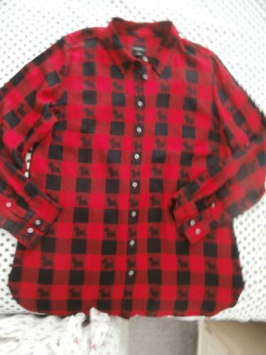 """TALBOTS LARGE RED/BLACK BUFFALO CHECK w/SCOTTIE DOGS-NEW-LONG """"ROLL TAB"""" SLEEVES"""