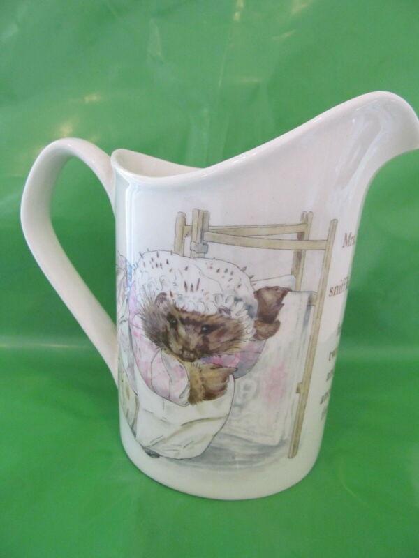 "Wedgwood & Barlaston Mrs Tiggy Winkle Beatrix Potter pitcher 4 1/2"" tall exc"