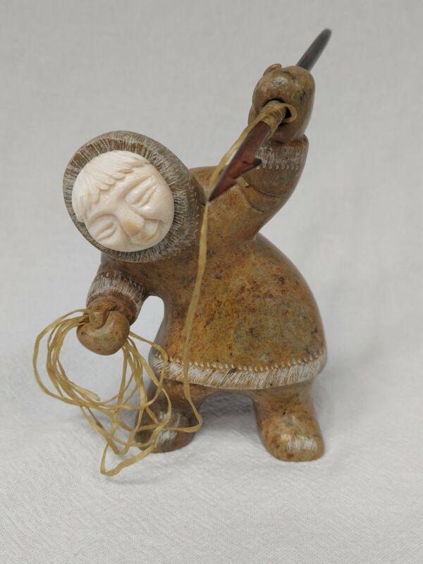 "Inuit Eskimo Hunter Soapstone Stone Sculpture signed 5 1/8"""