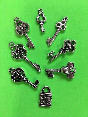 CHARMS keys lock old style DIY fun gift idea stocking stuffer Christmas gift #A1 - Diy Christmas Gift Ideas