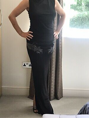 Just Cavalli Black Shiny Dress,Swan Embellishments Studs on Sides Slit at back