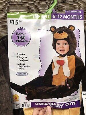 Kids Youth Infant Teddy Bear Halloween Costume Sz 6-12 Months And 12-18 Months  (Bear Halloween Costume Baby)