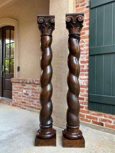 Antique PAIR French Oak Barley Twist Column Baluster Architectural Salvage