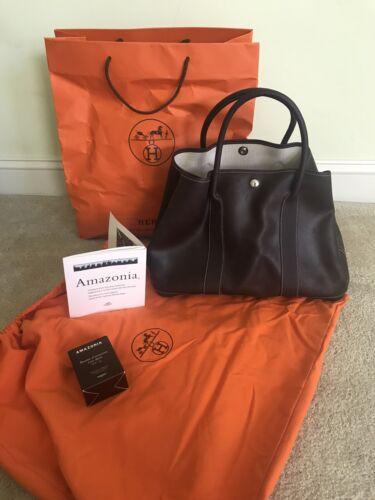 Hermes Garden Party Dark Brown Amazonia Leather HandTote Bag