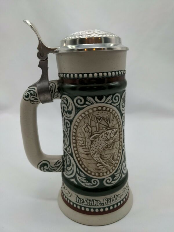 Avon Beer Stein The Strike Rainbow Trout At Point English-Setter 1978 Brazil