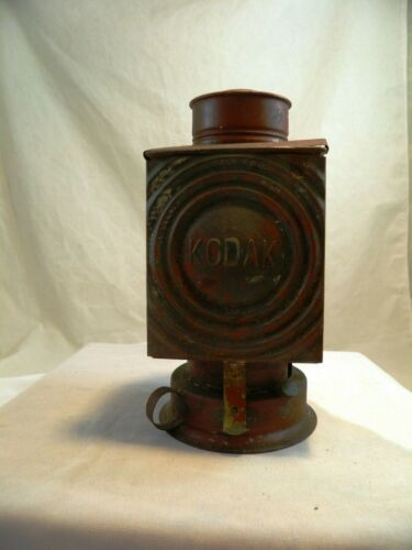 Antique KODAK Oil Lantern Safe Light Dark Room w/ Red & Amber Filters