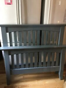 Jean blue twin headboard frame and footboard