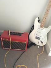 All white American Fendor Strat and Red Vox amp Melbourne CBD Melbourne City Preview