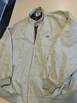Izod Lacoste Mens XL Vintage 1980s Harrington Light Jacket Tan Red Plaid Lining