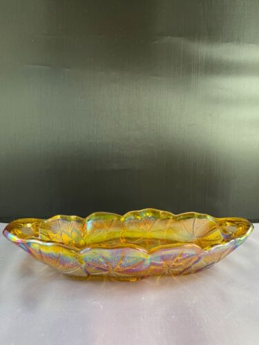 VINTAGE INDIANA MARIGOLD CARNIVAL GLASS SUNFLOWERS OVAL RELISH DISH