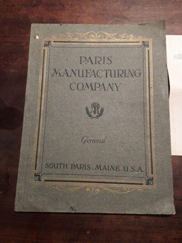 RARE Paris Manufacturing Co Catalog, Post Card, Letter Lot  South Paris Maine