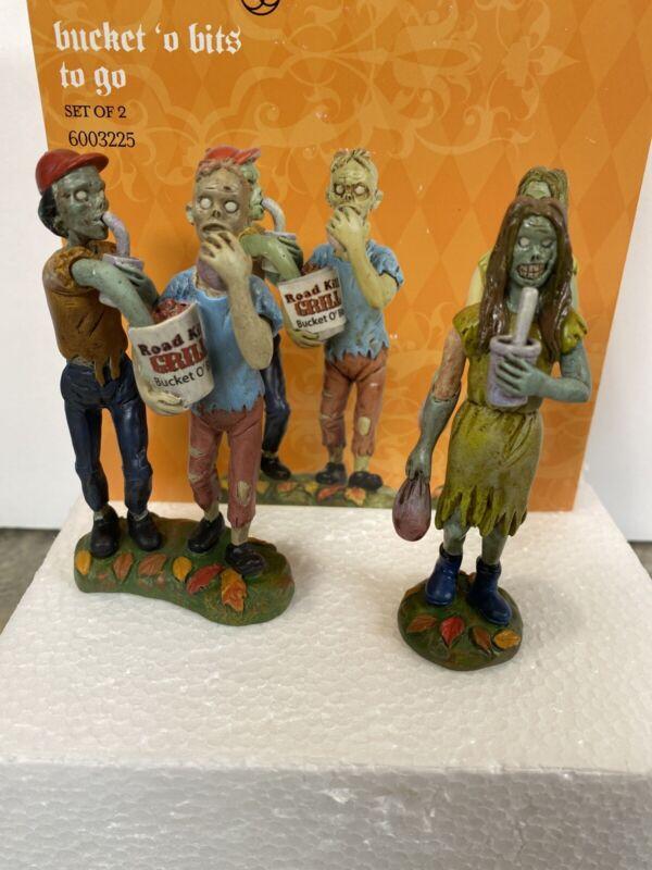New Dept 56 Halloween Village BUCKET O BITS TO GO roadkill grill Zombie Figurine