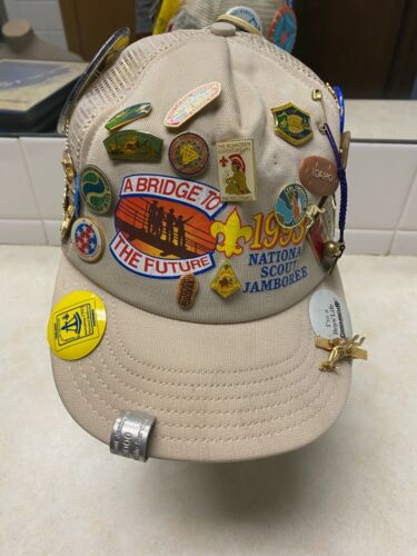 1993 National Jamboree Hat W/Hat Pins, Buttons, Etc.