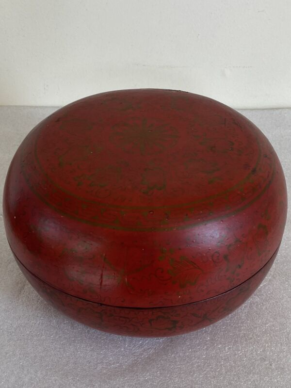 Antique Chinese Red Lacquer Box Signed Old Auction Stickers Painted