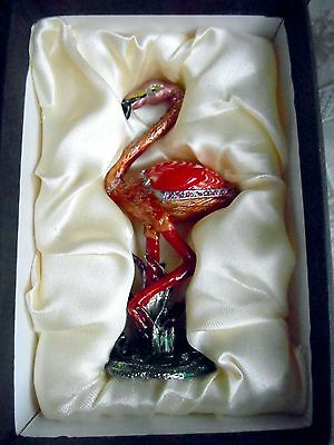 FITZ and FLOYD GUILD  ART GLASS SWAROVSKI CRYSTALS ENAMELED FLAMINGO NEW IN BOX