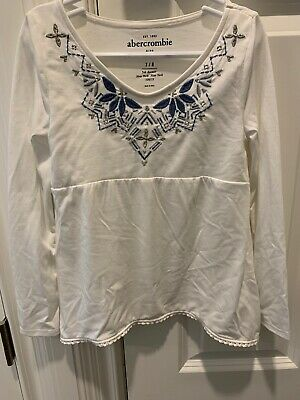 abercrombie kids 7/8 White Flowy Top With Blue & Silver Details NWT
