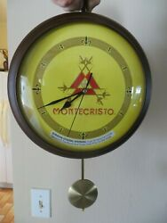 MONTE CRISTO CIGAR ADVERTISING GLASS FACED WOOD DOUBLE SIDED BATTERY CLOCK