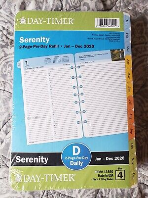 Serenity Day Timer 2 Page Per Day Refill Jan - Dec 2020
