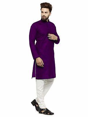 Indian Tunic Shirt (Solid Shirt Kurta Purple Indian Men's Casual Shirts 100% Cotton Tunic Top )