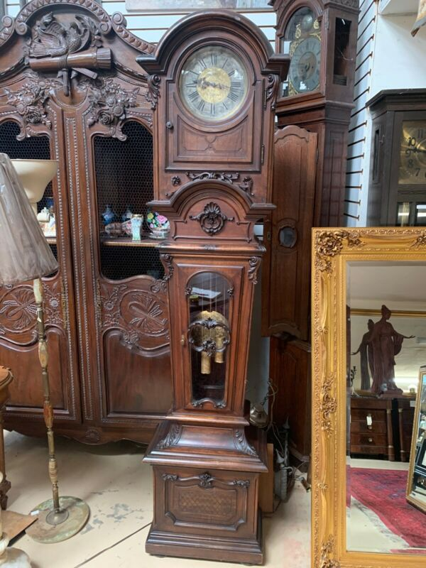 19th C Antique French Carved Walnut Grandfather Clock Tall Case Ludwig Hainz