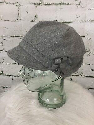 (Grey Newsboy Cap Hat Flower Embellished By Grace Hats)