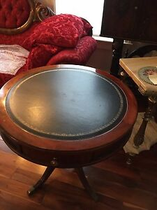 Round Mahogany Leather Top Table