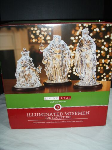 """LIVING HOME """" WISEMAN """" CLEAR ACRYLIC ICE SCULPTURE W/LED LIGHTS VERY RARE"""