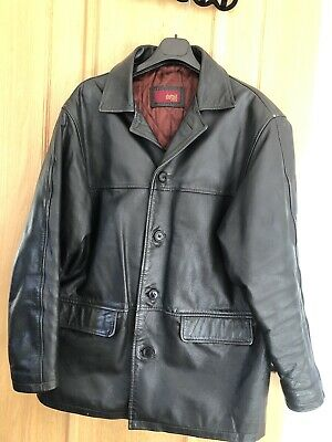 VINTAGE BLACK REAL LEATHER MENS'S JACKET SIZE LARGE