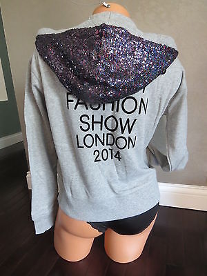Victoria's Secret FASHION SHOW LONDON 2014 hoodie gray~sequin bling SIZE:X-SMALL