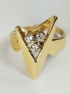 14k Solid Gold Ring With Genuine 3 Full Cut Clean Diamonds 0.30 CTW Size 6