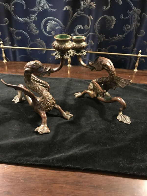Pair of Tiffany and Company Bronze Gargoyle Candle Holders