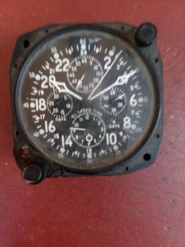 WW2 Military Hamilton Elgin 37500 Aircraft Clock 8 Day Cockpit Dash NEEDS ...TLC