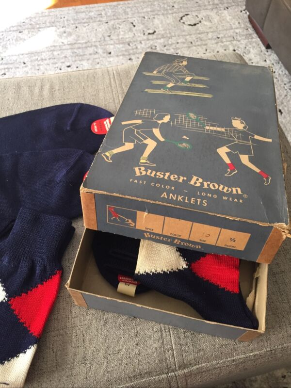 Vintage Buster Brown Socks / Anklets  1/2 DOZ. Red White Blue With Box SZ.10