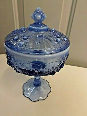 Fenton Lavender Blue Pedestal Candy Dish Cabbage Rose with lid