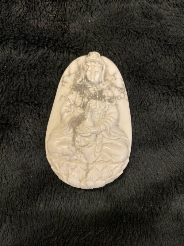 Detailed Howlite Kwan Imm Stone Carving
