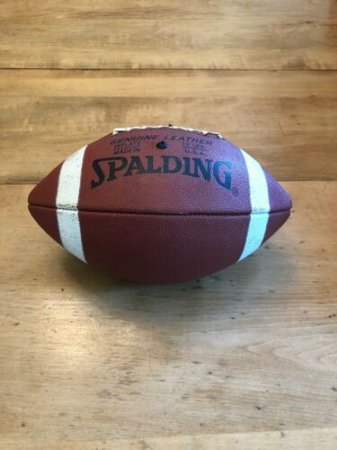 Vintage Spalding Genuine Leather Football w/Laces Made in USA - 13lbs Inflation
