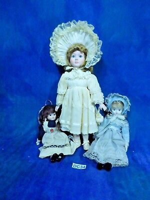 Vintage Bisque Artist Doll Lot: 3 Pretty Victorian Costume Longhaired Girls - Lala Loopsy Costumes