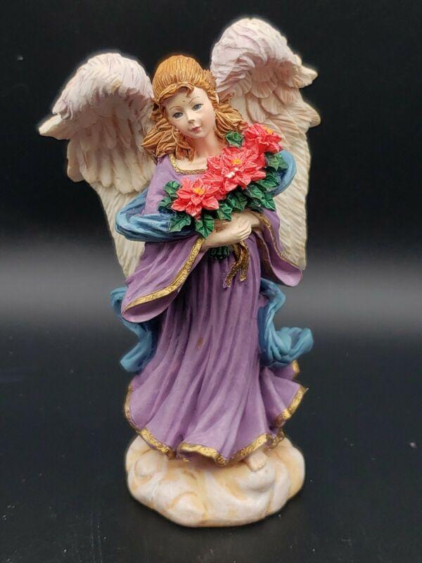 Vintage ANGEL OF THE GARDEN STATUE Poinsettia December Rare