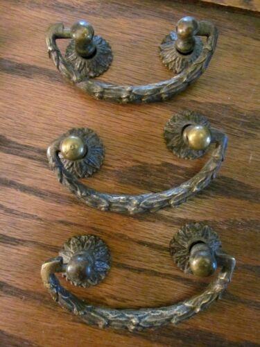 3 Vintage Antique Victorian Solid Brass Ornate Drawer Pulls old fancy Heavy