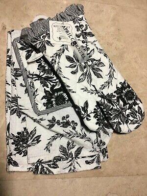 APRIL CORNELL KITCHEN  TOWEL POT HOLDER OVEN MITT BLACK WHITE FLORAL COTTON  NWT April Cornell Pot Holders
