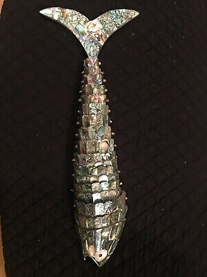 HUGE 15.5 inches.Articulated fish, bottle opener, brass and abalone. for sale  Hackettstown
