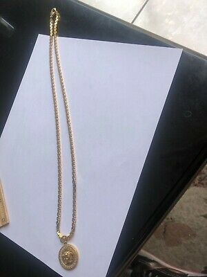 Versace Gold Medusa Necklace made In Italy 100% Authentic Used