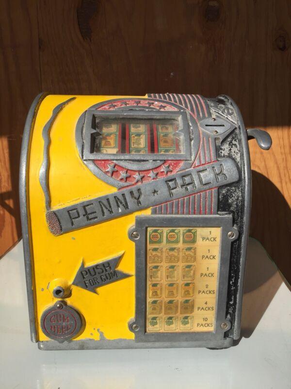 Daval Penny Pack Three Reel Cigarettes Trade Simulator Gum Machine